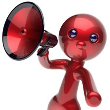 BigWords-Books Brand You Club Mascot image - shiny red figurine holding a megaphone