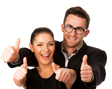 Two people giving Thumbs up sign for shortlisted entries to manuscript competition